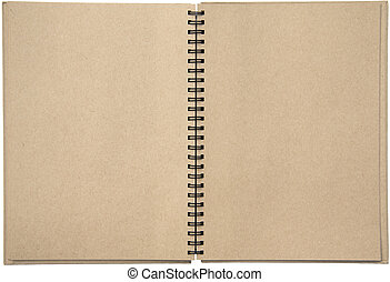 Empty blank two-page spread of a spiral bound note pad binder