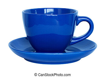 empty blue cup and saucer isolated on white with clipping path