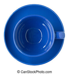 empty blue cup and saucer top view isolated on white