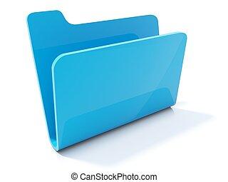 Empty blue folder icon isolated on white