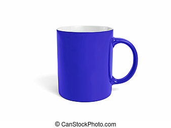 Empty blue mug with copy space on a white background.