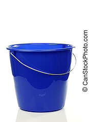 empty blue plastic household bucket on a white background