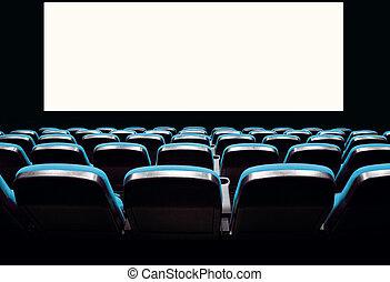 Empty blue seats in a cinema
