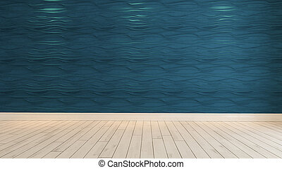 empty blue wave wall with spot light 3D rendering