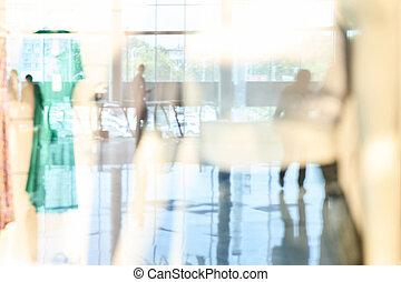 Empty blurry mall background. DeFocused wallpaper
