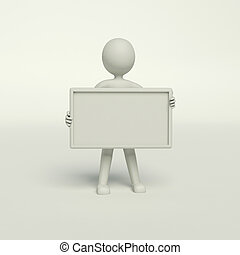 empty board - man holding a blank board on the white...