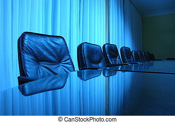 empty board room in blue tone, business concept