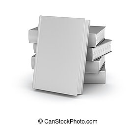 Empty book cover collection over white