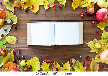 empty book with autumn leaves, fruits and berries