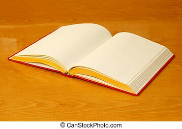 Empty book with yellowish pages - Focused on front part of...