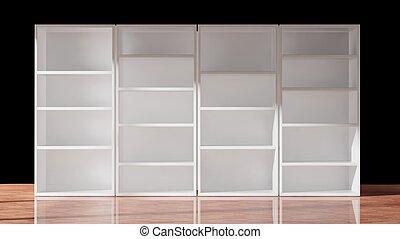 Empty bookcase on black, 3d rendering