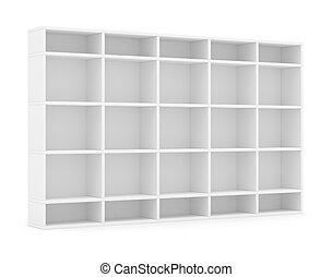 Empty bookshelf or store rack, isolated