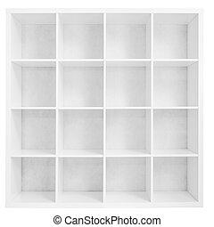 Empty bookshelf or store rack isolated on white - Empty...