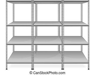 Empty Bookshelves Isolated On White Background Vector