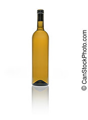 Empty bottle of wine in brown color on white background