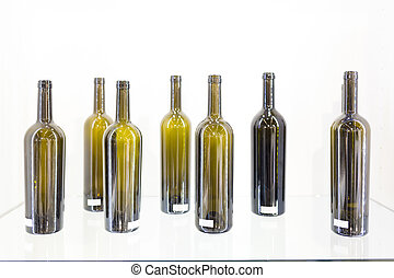 Empty bottle of wine on a white background