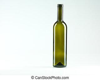 empty bottle of wine, white background