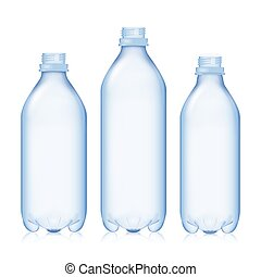 Empty Bottle. Set Realistic Blank Plastic Blue Water. Mock Up For Your Design. Vector Template Background