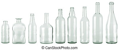 bottles - empty bottles collection, colorless, isolated