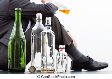 Empty bottles of alcohol