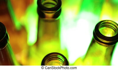 empty bottles, the top view, small depth of sharpness on a neck