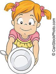 Empty Bowl Girl - Illustration of a Little Girl Handing Over...