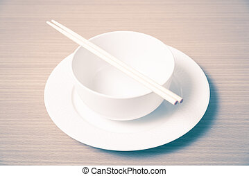 empty bowl with chopstick vintage style