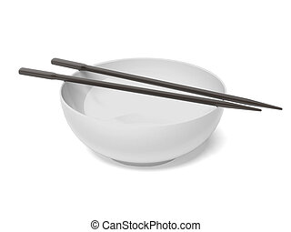 Empty bowl with chopsticks