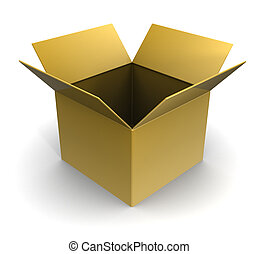 empty box - 3d illustration of empty cardboard box over...