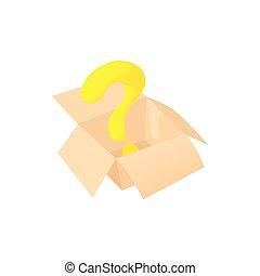 Empty box icon, cartoon style