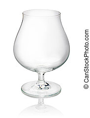 empty brandy glass on a white background
