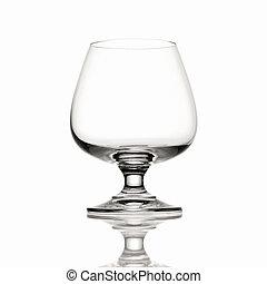 Empty Brandy glass on white background