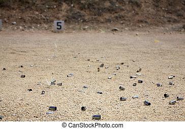 Empty brass on a range