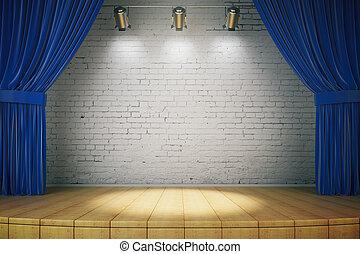 Empty brick wall stage