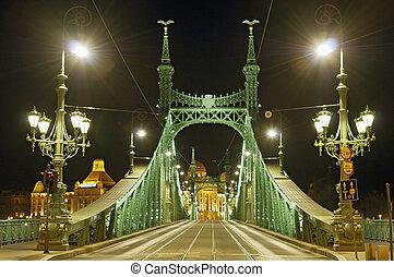 Empty bridge by night close