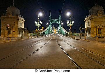 Empty bridge by night