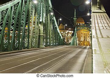Empty bridge by night slant tele