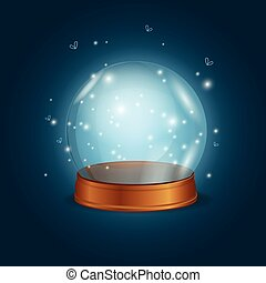 Empty Bright Glowing Crystal Ball. Vector