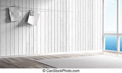 Empty bright interior . 3D rendering