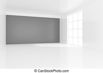 Empty bright office room with light ray on wall. 3D Rendering.