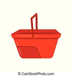 Empty bright red bucket with handle. Plastic container for carry liquids. Flat vector icon of small water pail