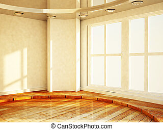 empty bright room with the window