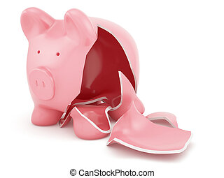 Empty broken piggy bank - 3d render of empty broken piggy...