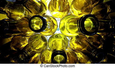 Empty brown beer bottles, the top view on a white background