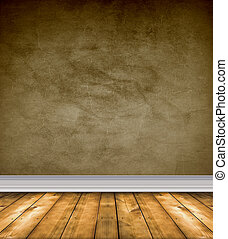 Empty Brown Room With Bare Floors - Empty grunge room with...