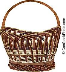 Empty brown wicker basket vector isolated illustration