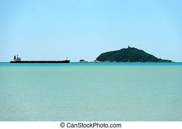 Empty Bulk Carrier in the Gulf of La Spezia Italy