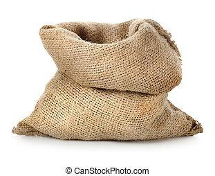 Empty burlap sack isolated on a white background