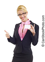 empty business card with OK - businesswoman showing an empty...