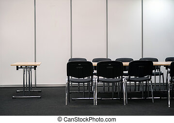 Empty business meeting room. Desk and chairs for decision making